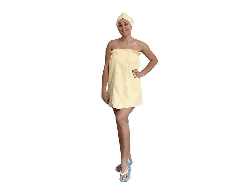 Женская саунка махровая 70*140 с чалмой фото