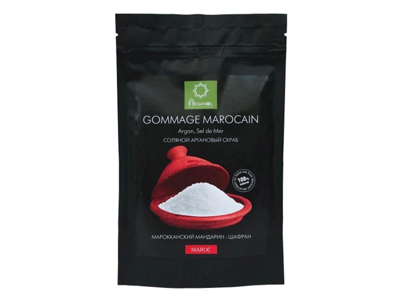 Соляной аргановый скраб (Марокканский мандарин – Шафран), 200 г, ARGANOIL FRUITS DU MAROC фото