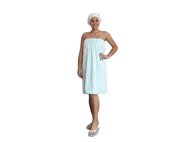 Женская махровая саунка комлект  с шапочкой фото